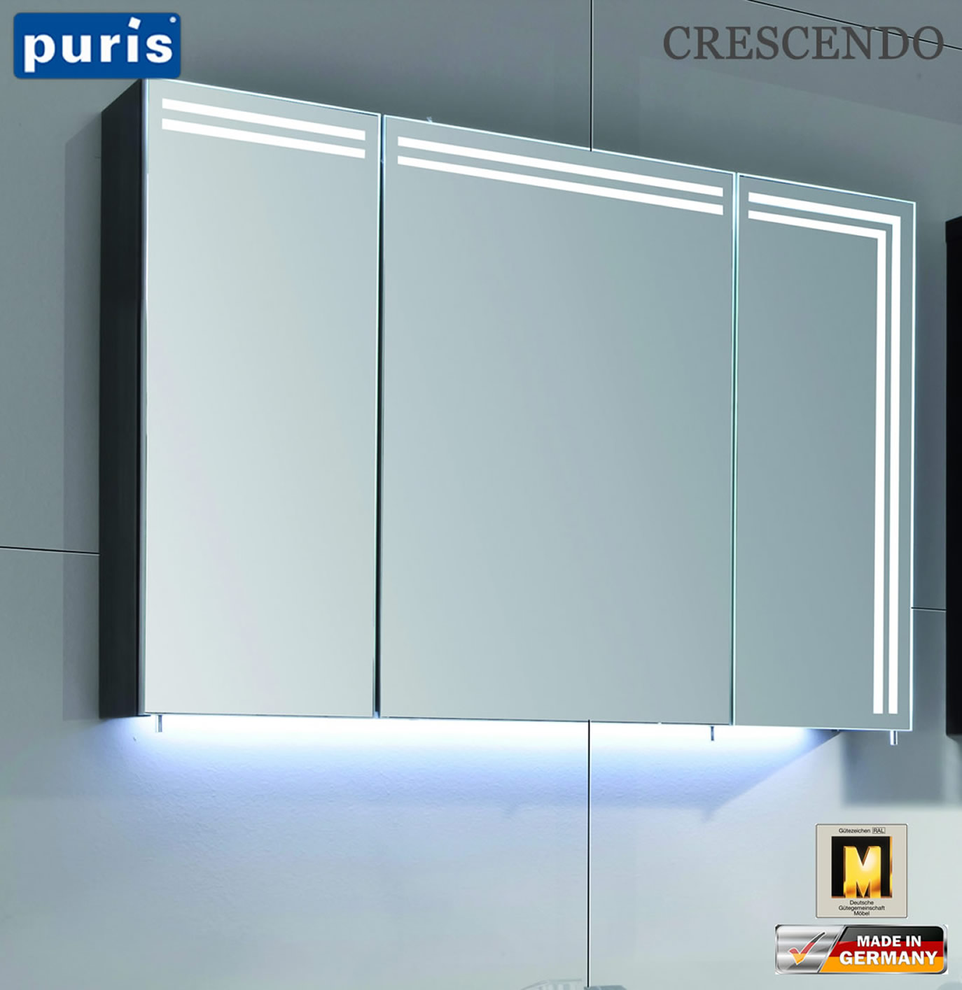 puris crescendo led spiegelschrank 90 cm s2a439l23. Black Bedroom Furniture Sets. Home Design Ideas