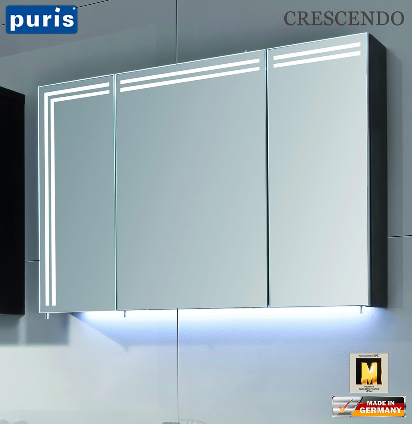 puris crescendo led spiegelschrank 90 cm s2a439r23. Black Bedroom Furniture Sets. Home Design Ideas