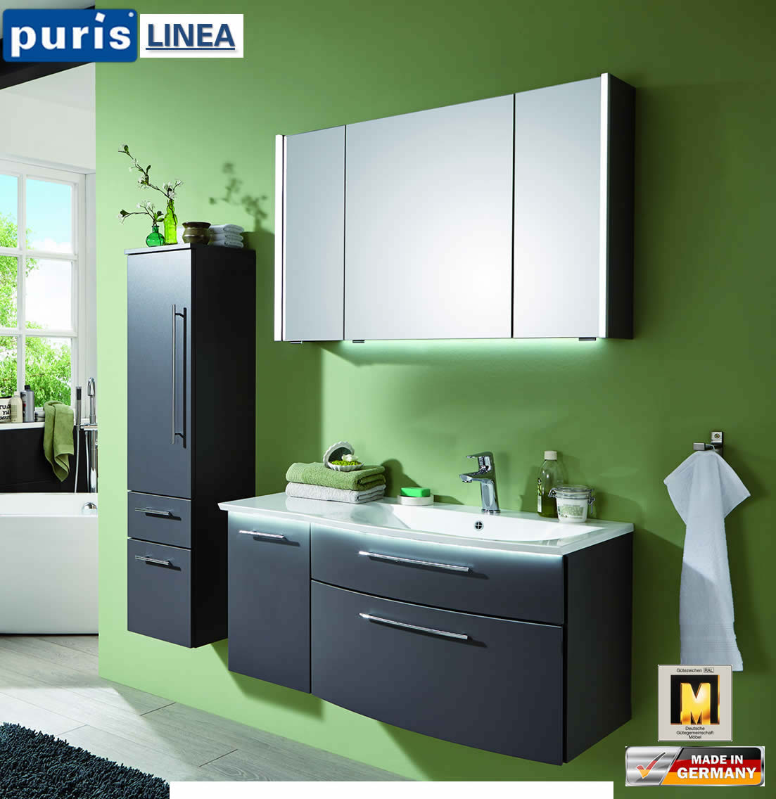 puris linea badm bel set 100 cm fb21 l impuls home. Black Bedroom Furniture Sets. Home Design Ideas