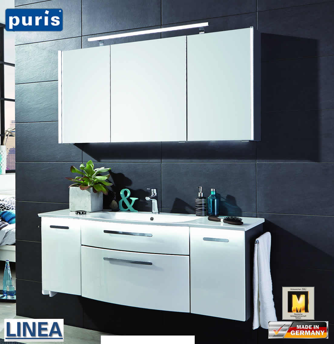 puris linea badm bel set 130 cm fb20 impuls home. Black Bedroom Furniture Sets. Home Design Ideas