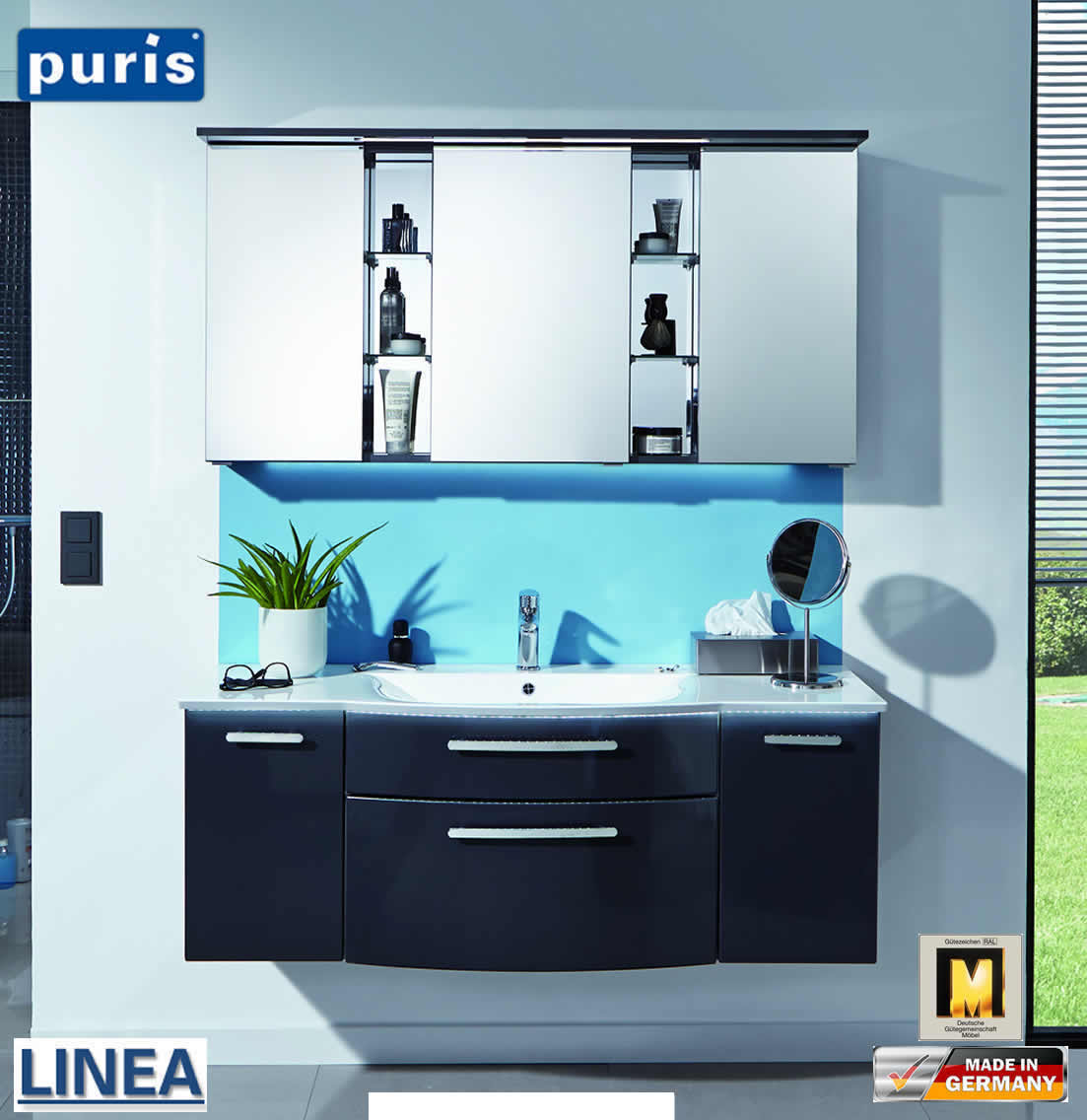 puris linea badm bel set 130 cm mit regal spiegelschrank. Black Bedroom Furniture Sets. Home Design Ideas