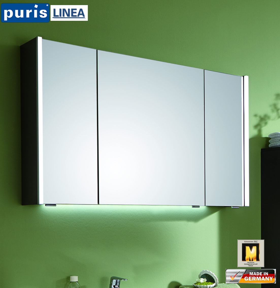 puris linea led spiegelschrank 100 cm s2a431079 impuls. Black Bedroom Furniture Sets. Home Design Ideas