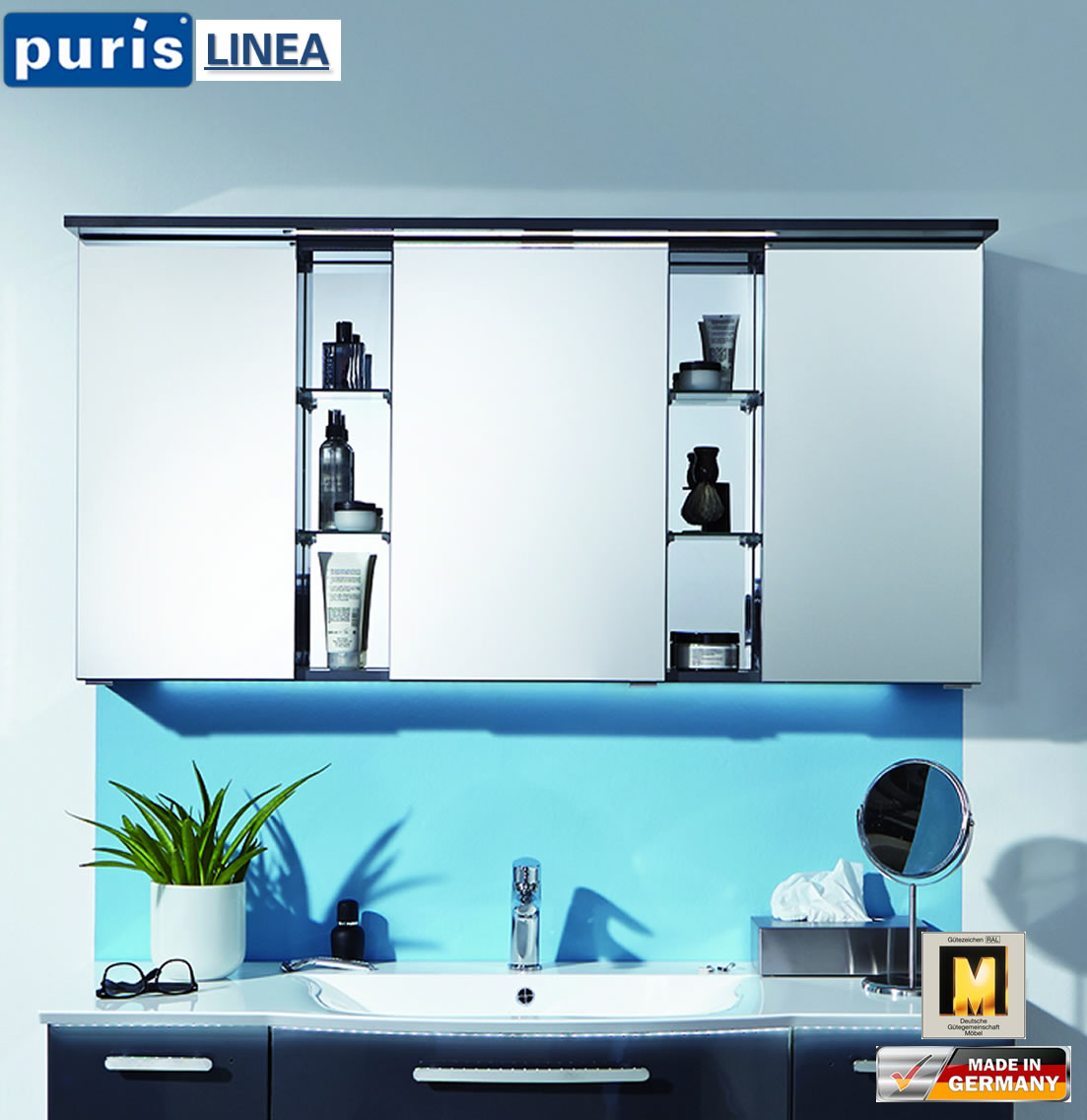 puris linea led spiegelschrank 130 cm s2a4213s1 impuls home. Black Bedroom Furniture Sets. Home Design Ideas