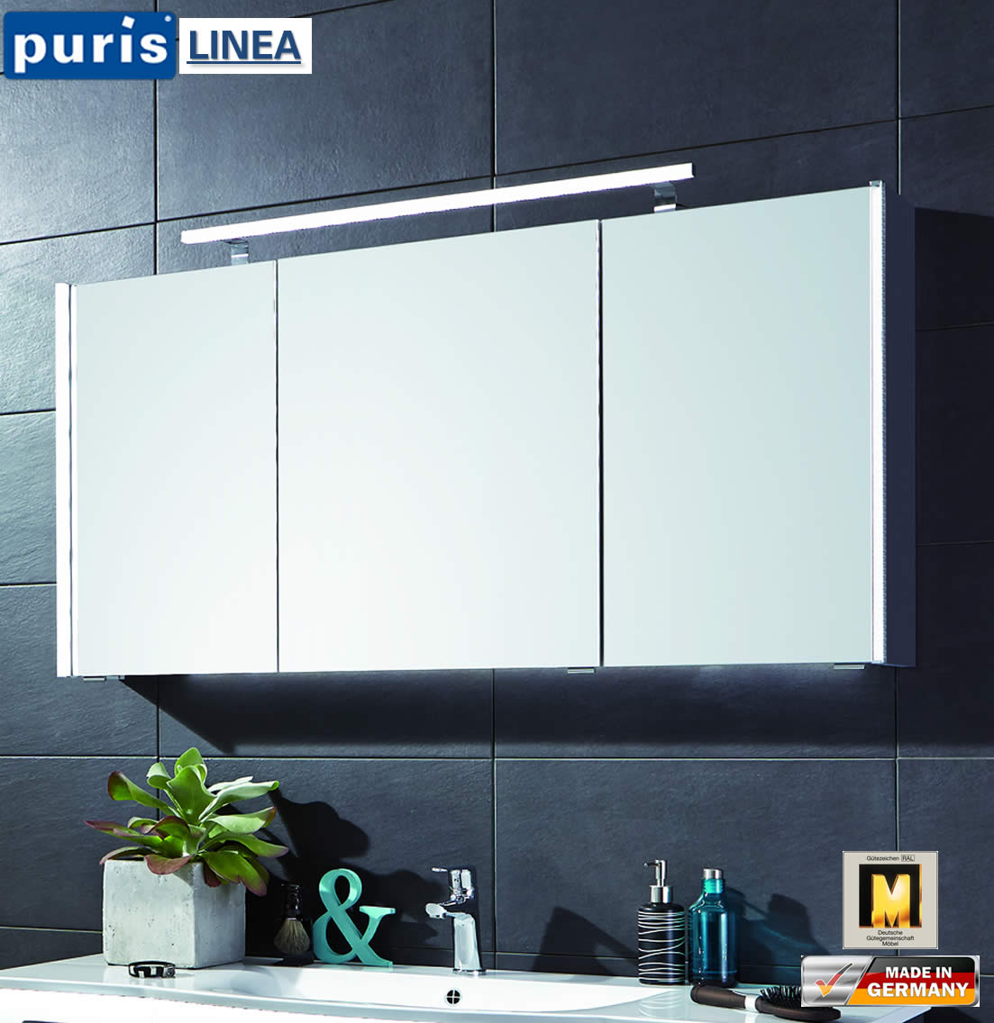 puris linea led spiegelschrank 130 cm s2a431379 impuls home. Black Bedroom Furniture Sets. Home Design Ideas