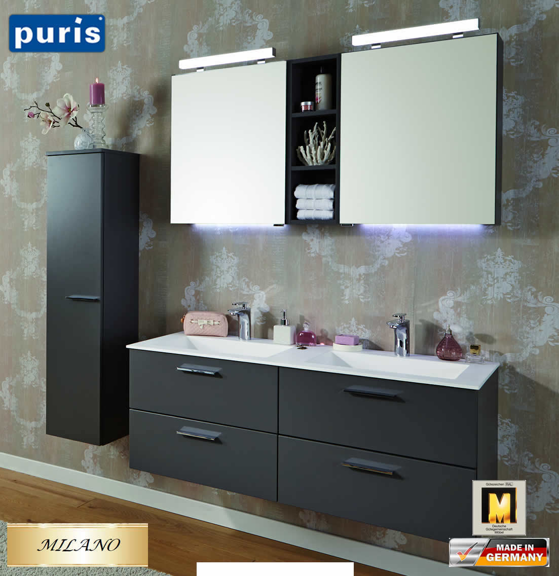 puris milano badm bel set 120 cm fb02 doppelwaschtisch. Black Bedroom Furniture Sets. Home Design Ideas