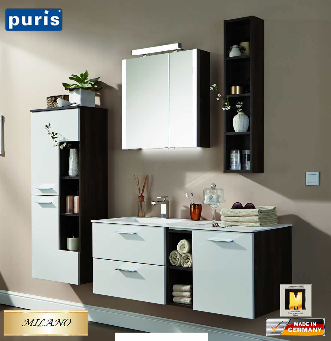 puris milano badm bel set 120 cm komplett fb03 komplett set impuls home. Black Bedroom Furniture Sets. Home Design Ideas