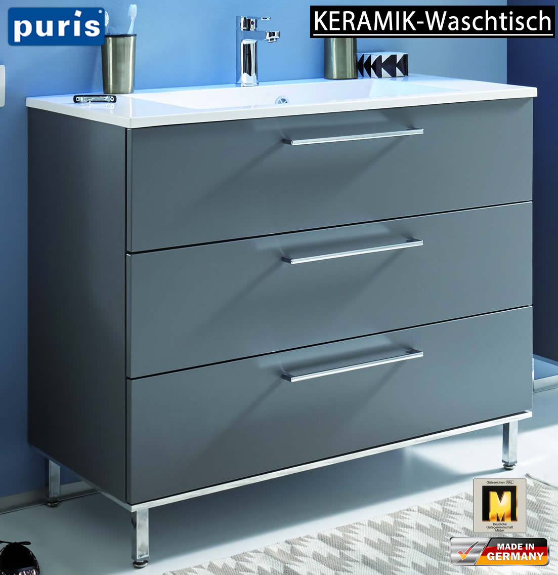 puris quada waschtisch set 100 cm keramik impuls home. Black Bedroom Furniture Sets. Home Design Ideas