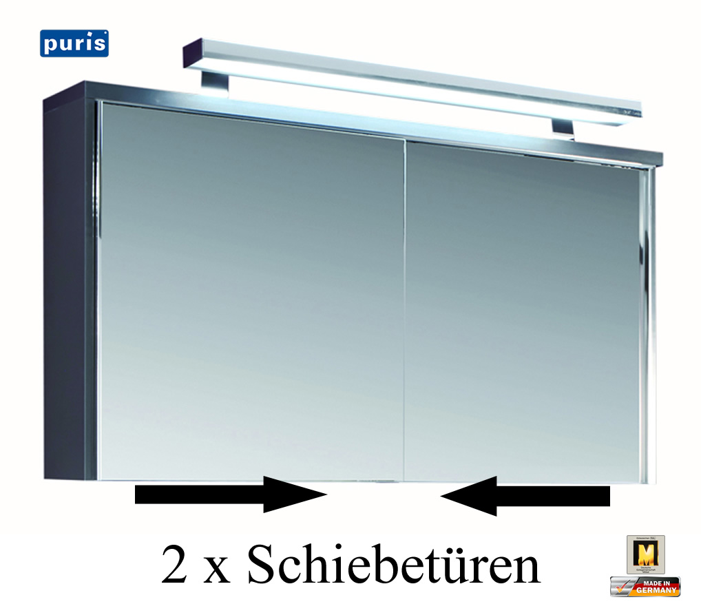 puris solit r spiegelschrank 120 cm breite mit. Black Bedroom Furniture Sets. Home Design Ideas