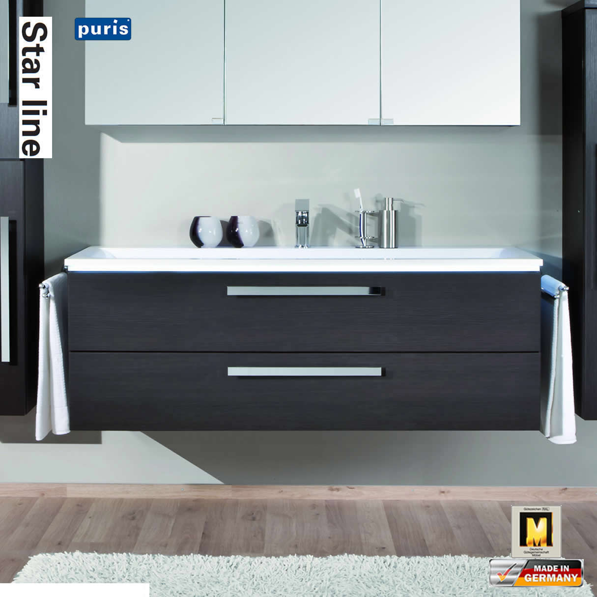 puris star line 140 cm unterschrank 2 ausz ge mit einzelwaschtisch 0140 ewt 2 impuls home. Black Bedroom Furniture Sets. Home Design Ideas