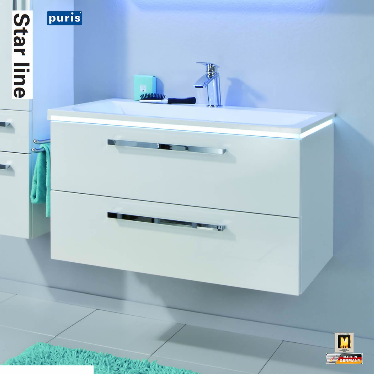 puris star line 90 cm unterschrank 2 ausz ge mit einzelwaschtisch 090 ewt 2 impuls home. Black Bedroom Furniture Sets. Home Design Ideas