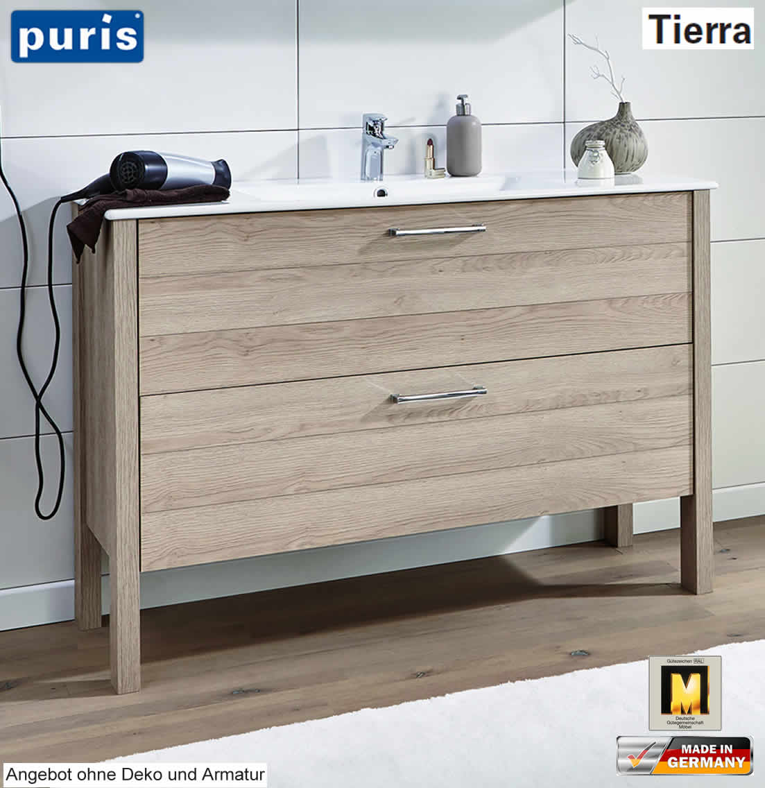 puris tierra waschtisch set 120 cm breite mit 2 ausz gen. Black Bedroom Furniture Sets. Home Design Ideas