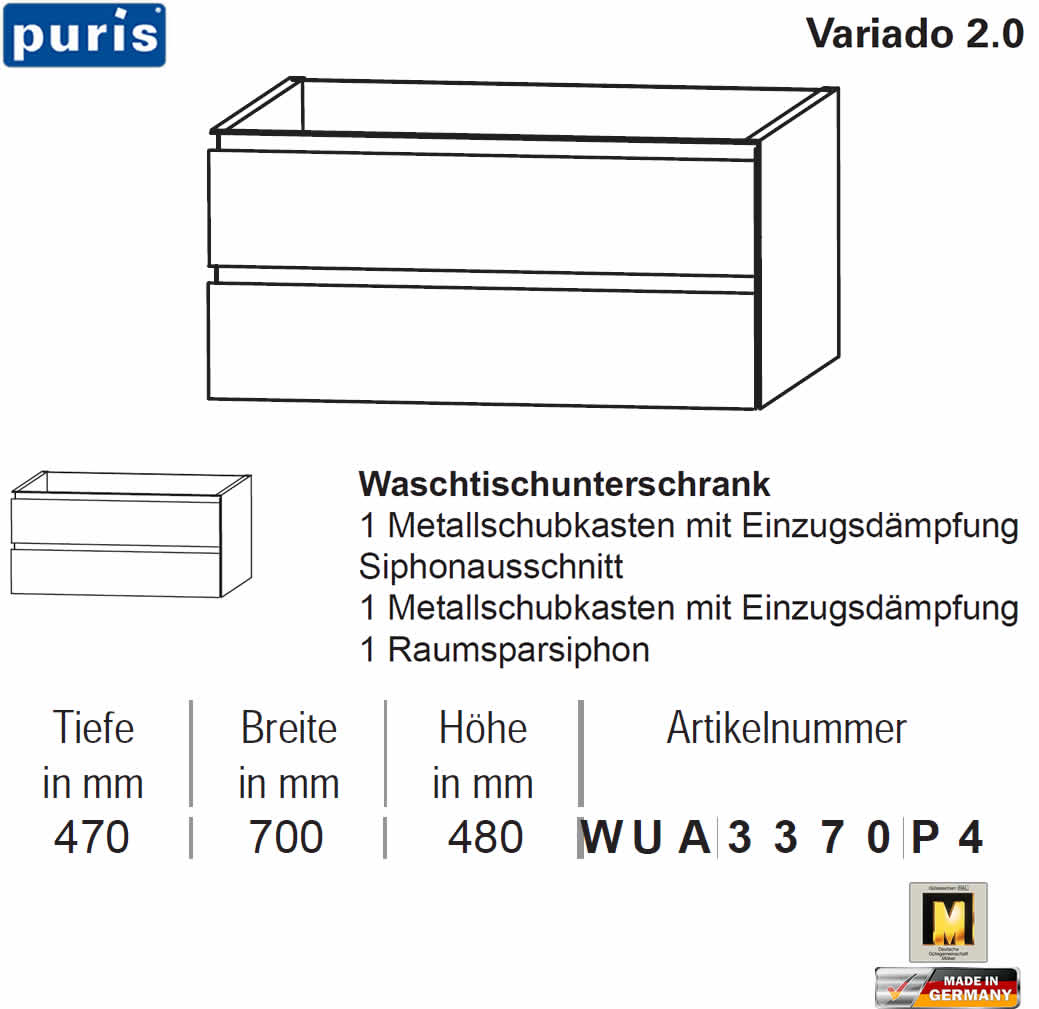 puris variado 2 0 waschtischunterschrank 70 cm 2 ausz ge. Black Bedroom Furniture Sets. Home Design Ideas