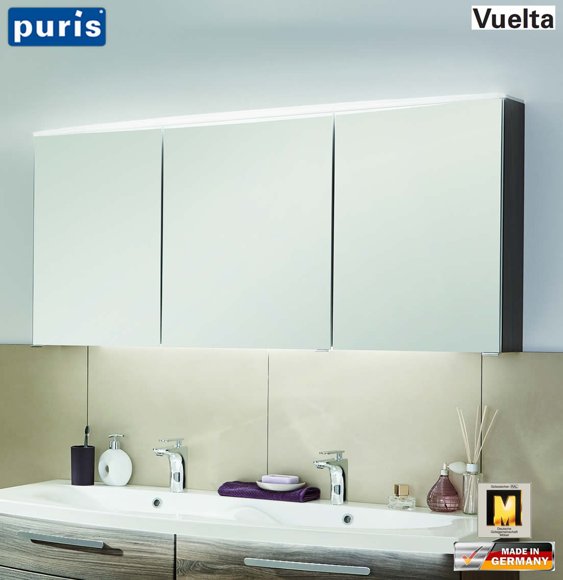 puris vuelta spiegelschrank 140 cm mit led fl chenleuchte. Black Bedroom Furniture Sets. Home Design Ideas