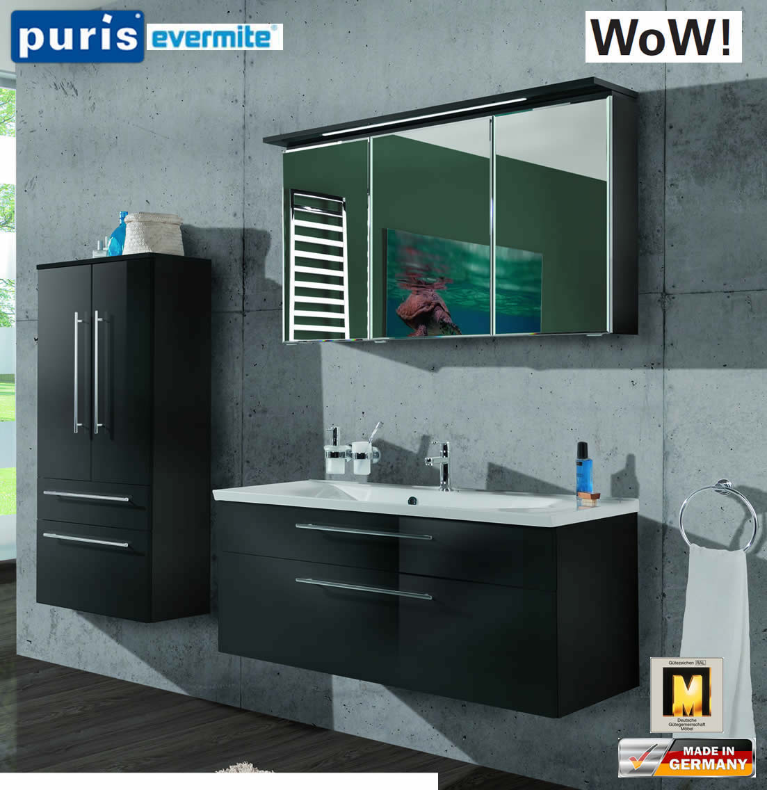 Puris WoW Badmöbel Set 110 cm in Anthrazit - 3tlg - mit EVERMITE ...