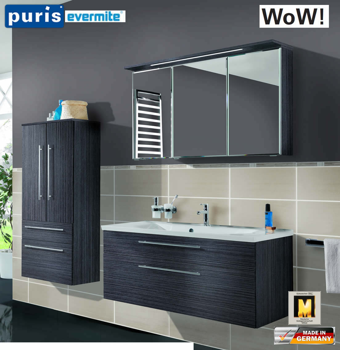 puris wow badm bel set 110 cm in hacienda schwarz 3tlg. Black Bedroom Furniture Sets. Home Design Ideas