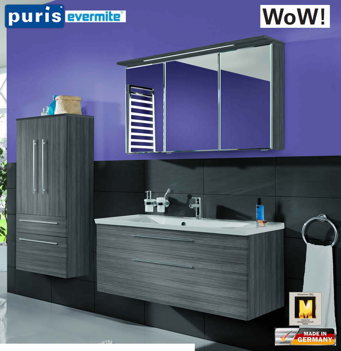 Puris WoW Badmöbel Set 110 cm in Hacienda Grau - 3tlg - mit EVERMITE ...