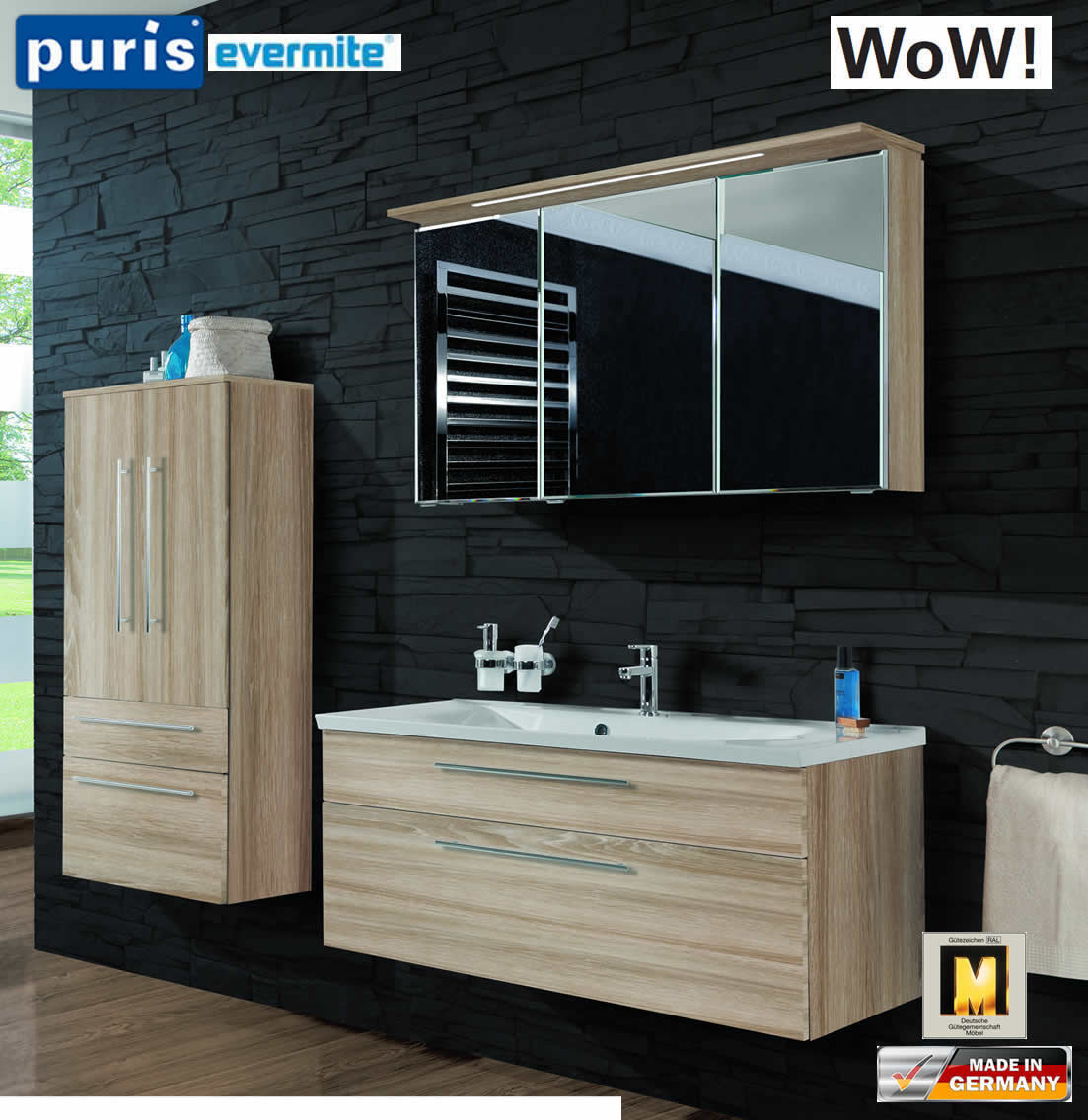 puris wow badm bel set 110 cm in eiche hell 3tlg mit evermite waschtisch impuls home. Black Bedroom Furniture Sets. Home Design Ideas