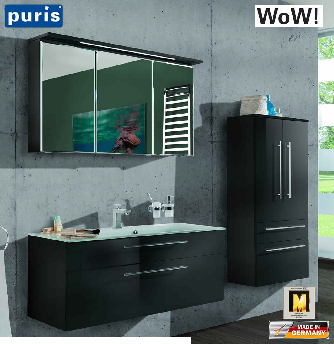 Puris WoW Badmöbel Set 110 cm in Anthrazit - 3tlg - mit ...