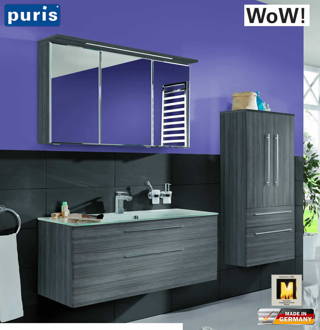 Puris wow badm bel set 110 cm in hacienda grau 3tlg mit glaswaschtisch impuls home - Badmobel set grau ...