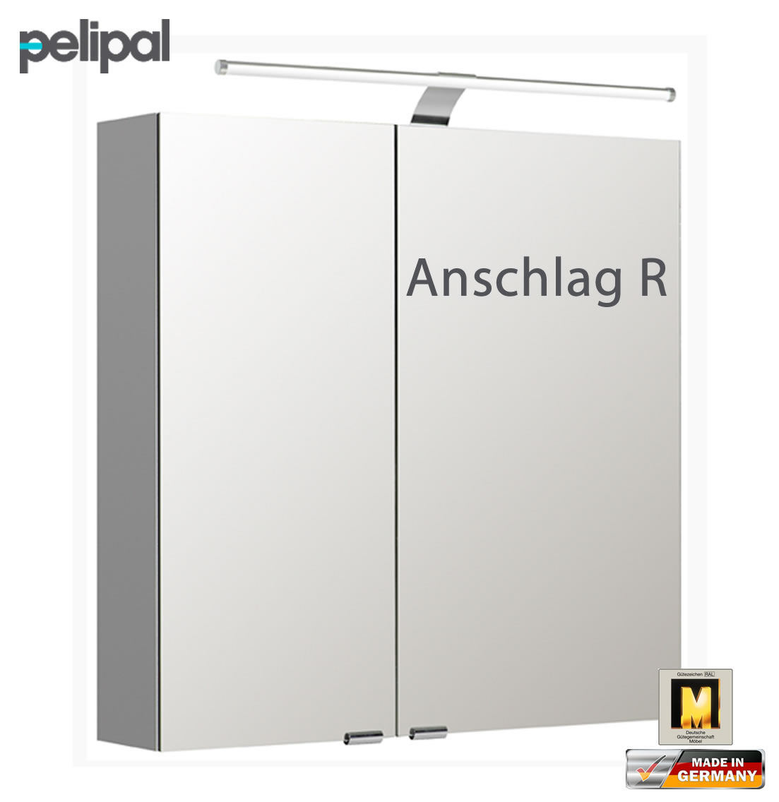pelipal neutraler spiegelschrank 70 cm mit led aufsatzleuchte s5 spsd 08 impuls home. Black Bedroom Furniture Sets. Home Design Ideas