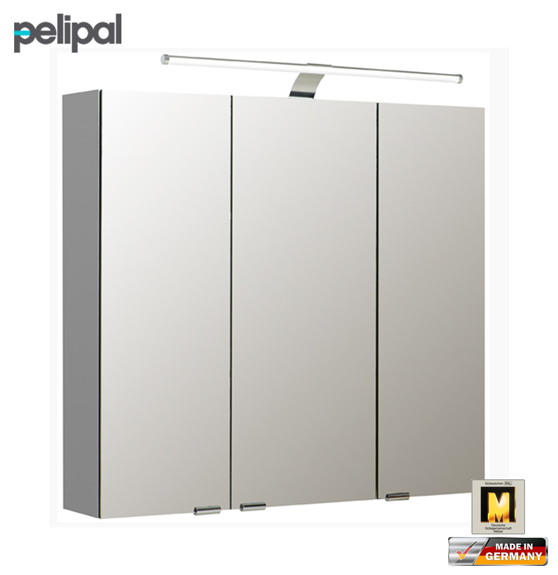 pelipal neutraler spiegelschrank 80 cm mit led aufsatzleuchte s5 spsd 11 impuls home. Black Bedroom Furniture Sets. Home Design Ideas