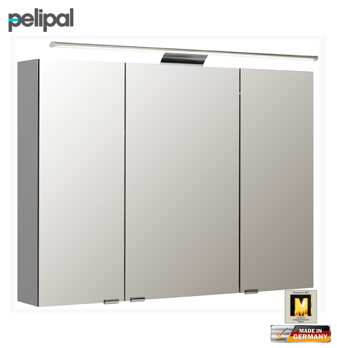 pelipal neutraler spiegelschrank 100 cm mit led. Black Bedroom Furniture Sets. Home Design Ideas