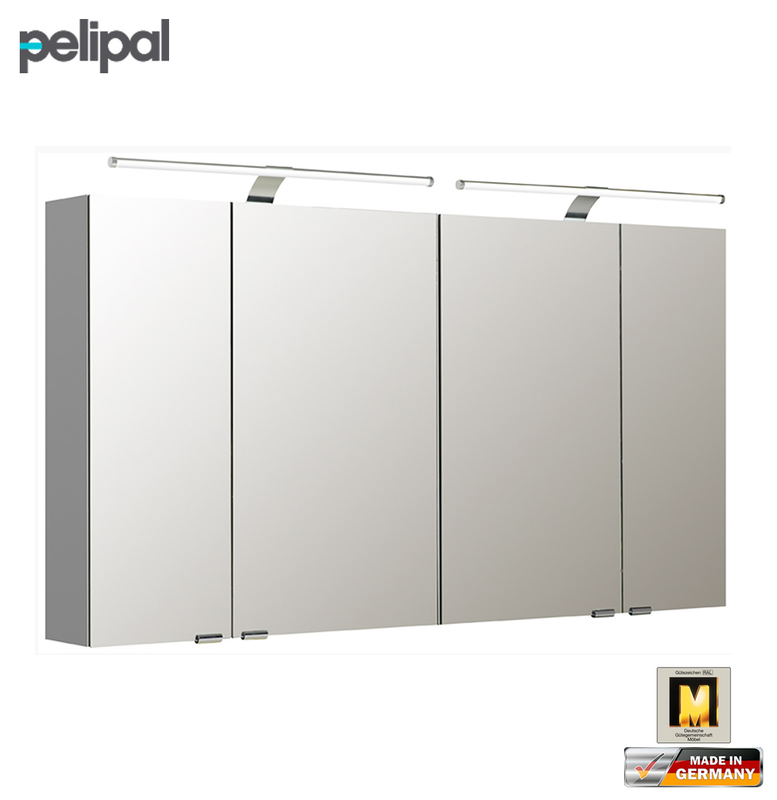 pelipal neutraler spiegelschrank 130 cm mit led aufsatzleuchten s5 spsd 24 impuls home. Black Bedroom Furniture Sets. Home Design Ideas