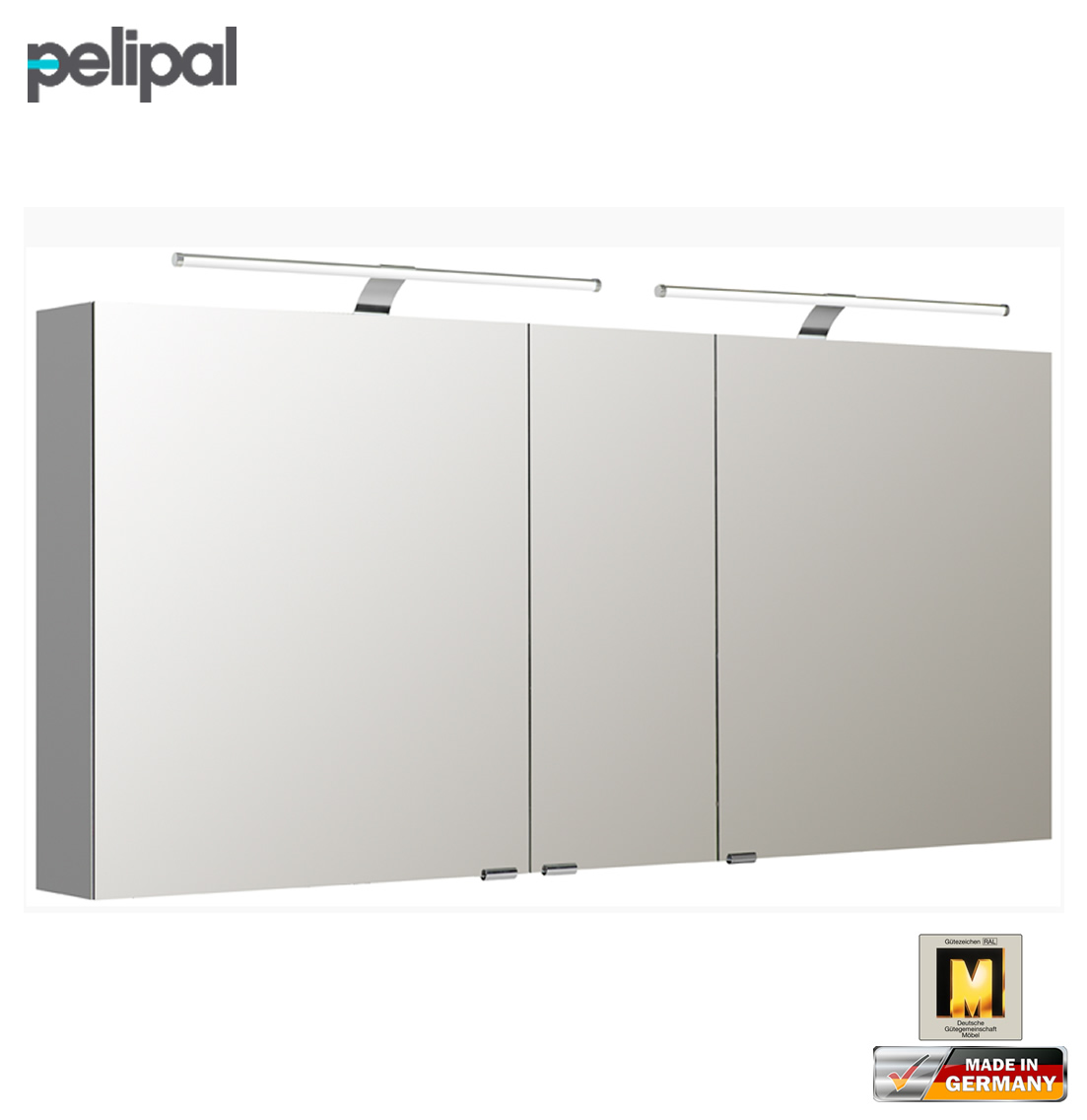 pelipal neutraler spiegelschrank 150 cm mit led aufsatzleuchten s5 spsd 27 impuls home. Black Bedroom Furniture Sets. Home Design Ideas