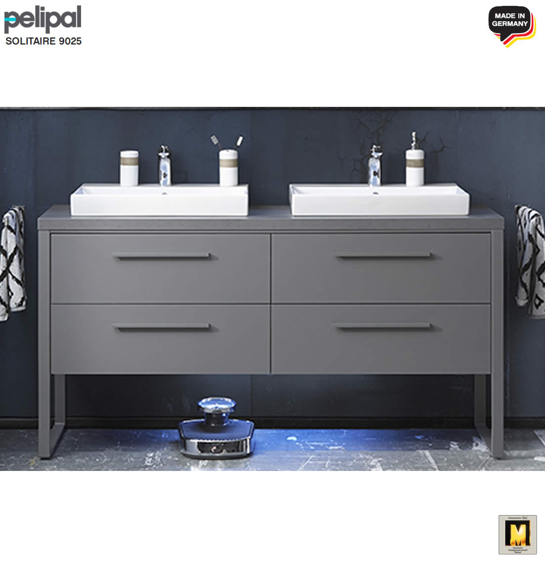 pelipal solitaire 9025 waschtisch set 160 cm keramik aufsatz waschtisch unterschrank 4. Black Bedroom Furniture Sets. Home Design Ideas