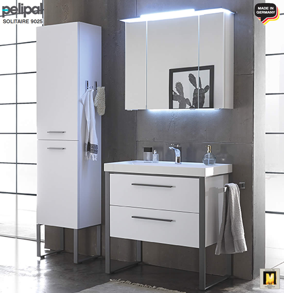 pelipal solitaire 9025 badm bel set 85 cm mineral waschtisch led spiegelschrank v1. Black Bedroom Furniture Sets. Home Design Ideas