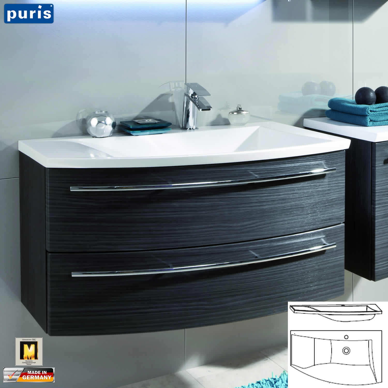 puris crescendo waschtisch set 90 cm mit erg nzungsschrank seite waschtisch w hlbar impuls. Black Bedroom Furniture Sets. Home Design Ideas
