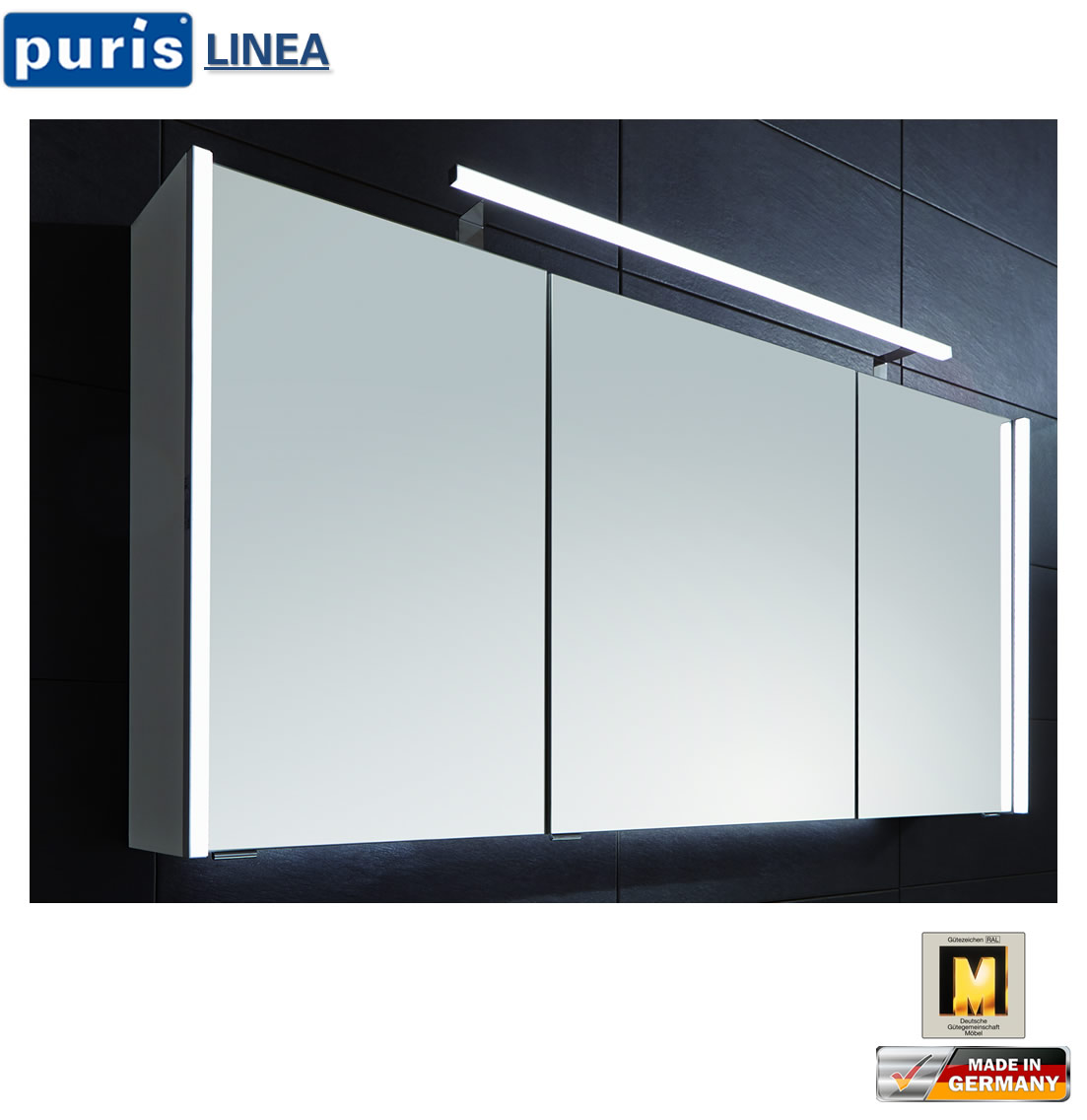 Puris Linea LED Spiegelschrank 100 cm   S2A431079 | Impuls Home
