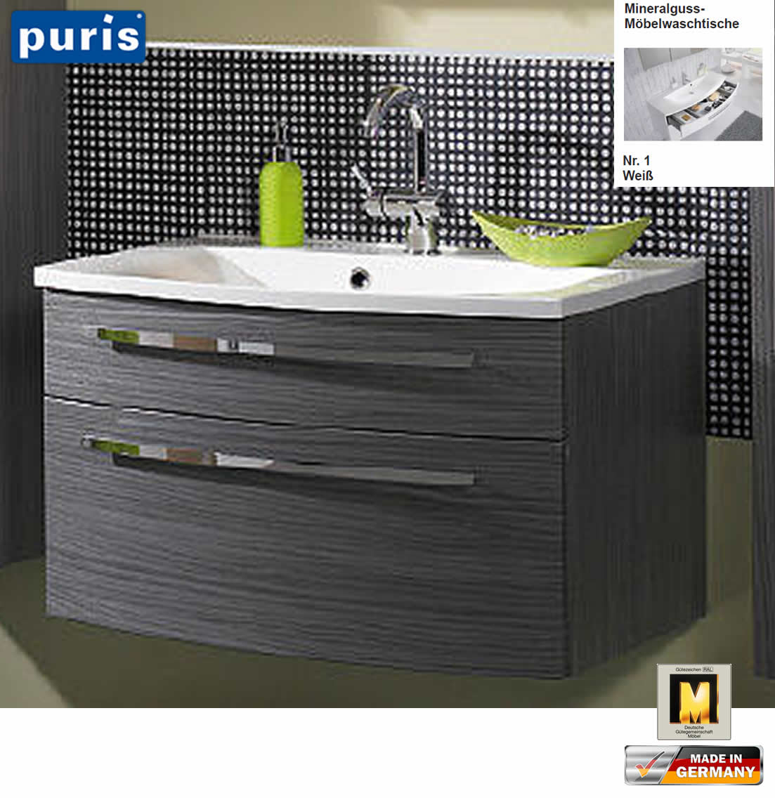 puris speed badm bel set 80 cm serie 5 led fl chenleuchte waschtisch w hlbar impuls home. Black Bedroom Furniture Sets. Home Design Ideas