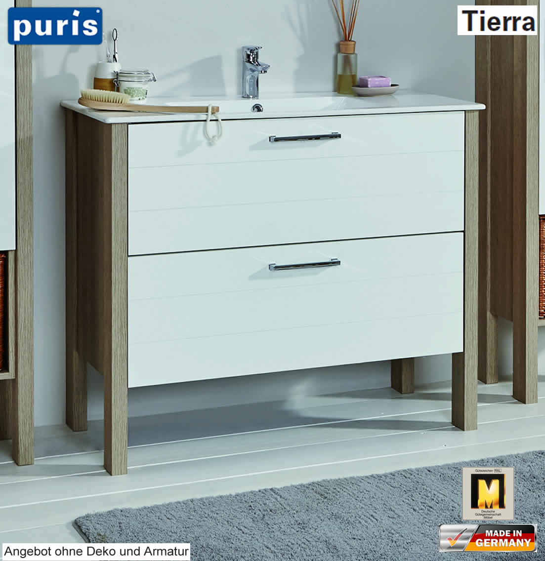 puris tierra waschtisch set 100 cm breite mit keramik wt. Black Bedroom Furniture Sets. Home Design Ideas
