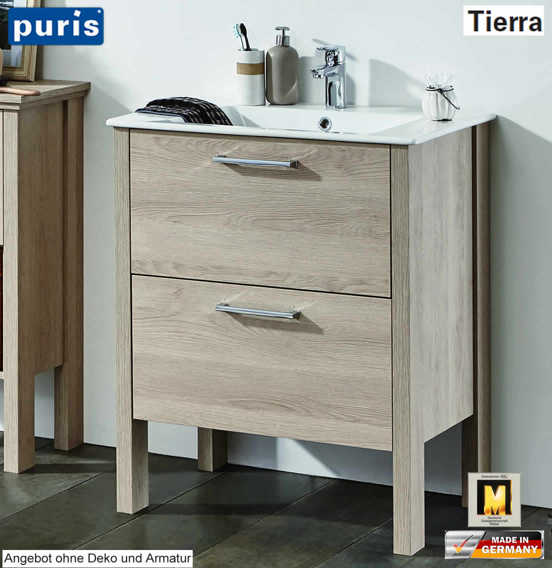 puris tierra waschtisch set 70 cm breite mit keramik wt und 2 ausz gen stehende variante. Black Bedroom Furniture Sets. Home Design Ideas