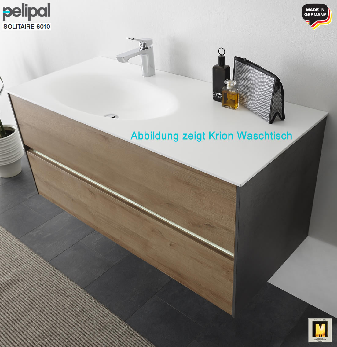 pelipal solitaire 6010 badm bel set mit 113 cm waschtisch l w hlbar und unterschrank led. Black Bedroom Furniture Sets. Home Design Ideas