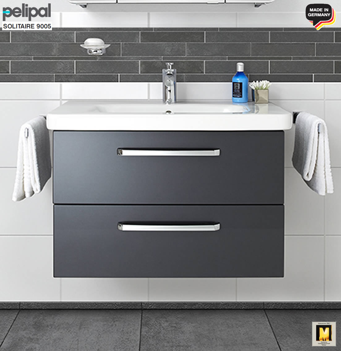 pelipal solitaire 9005 waschtisch set 80 cm mit duravit. Black Bedroom Furniture Sets. Home Design Ideas
