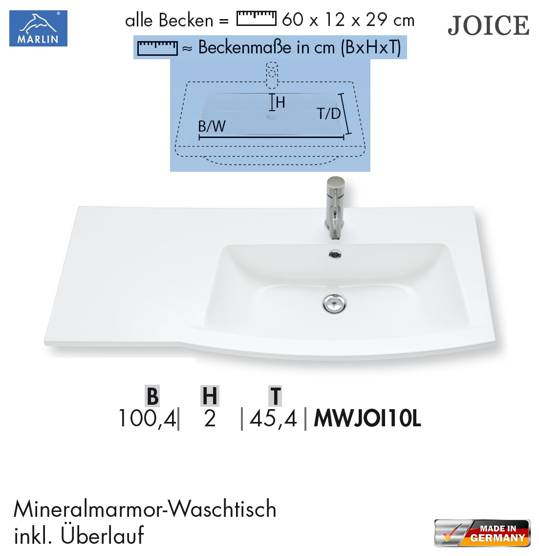 marlin joice waschtisch set 2 100 cm mit waschtisch mineralmarmor rahmenoptik led optional. Black Bedroom Furniture Sets. Home Design Ideas