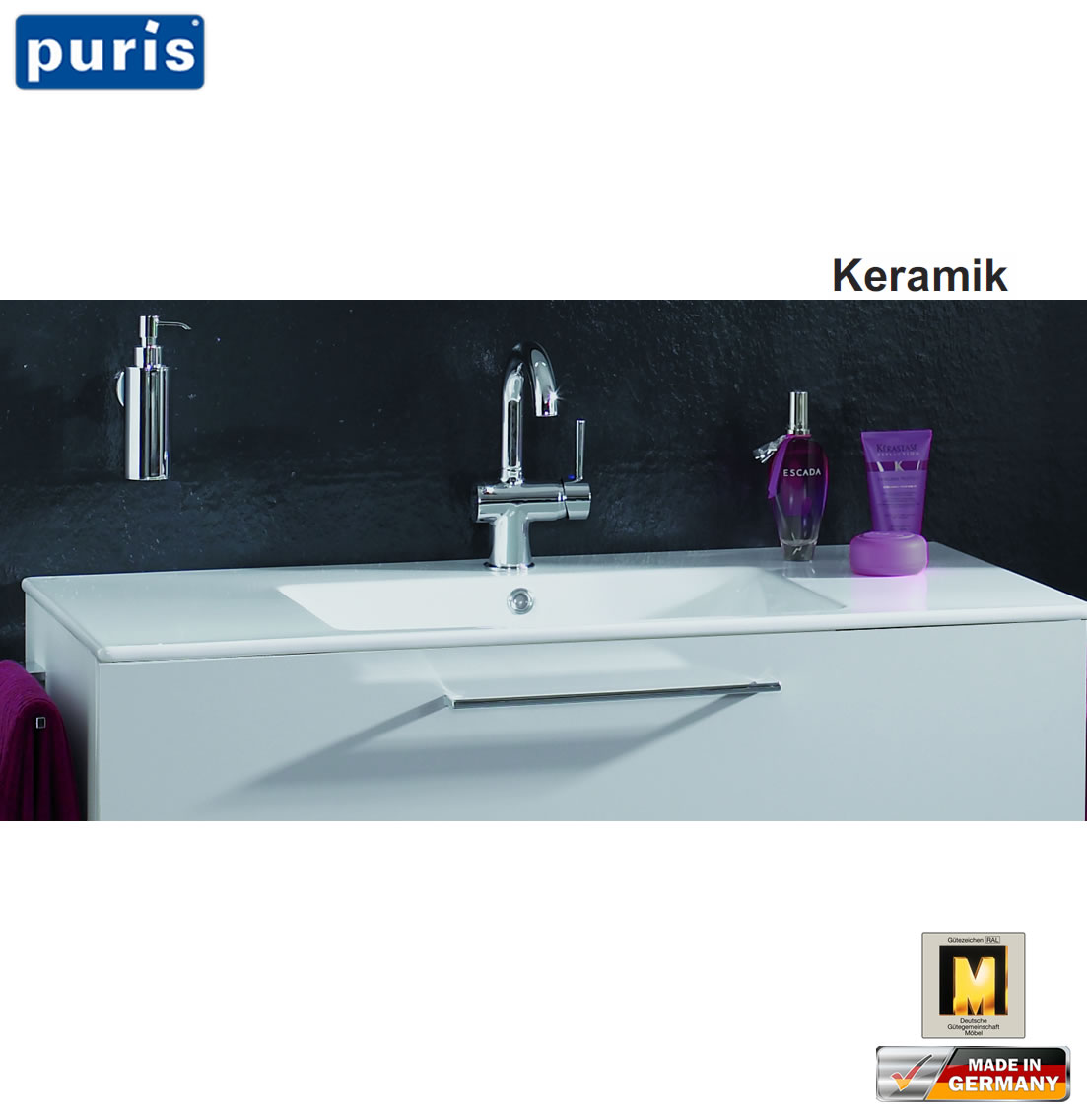 puris cool line waschtisch set 90 cm keramik led optional impuls home. Black Bedroom Furniture Sets. Home Design Ideas