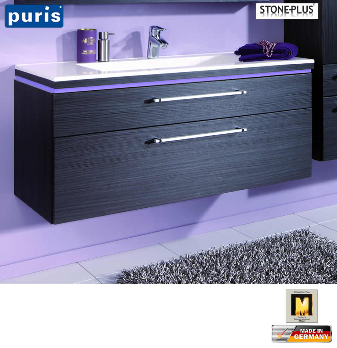 puris cool line waschtisch set 120 cm stoneplus led optional impuls home. Black Bedroom Furniture Sets. Home Design Ideas