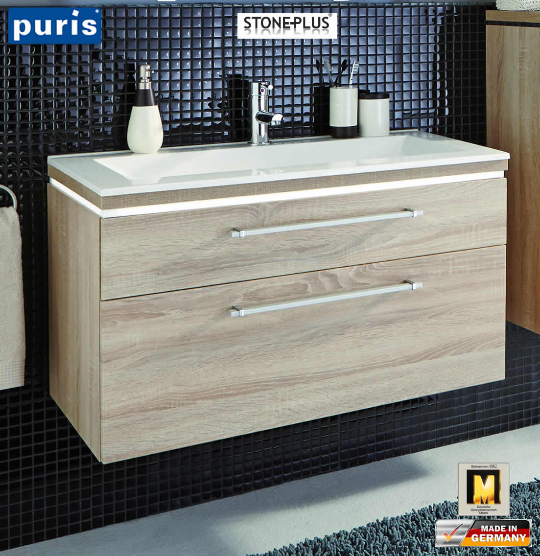 puris cool line waschtisch set 90 cm stoneplus led optional impuls home. Black Bedroom Furniture Sets. Home Design Ideas