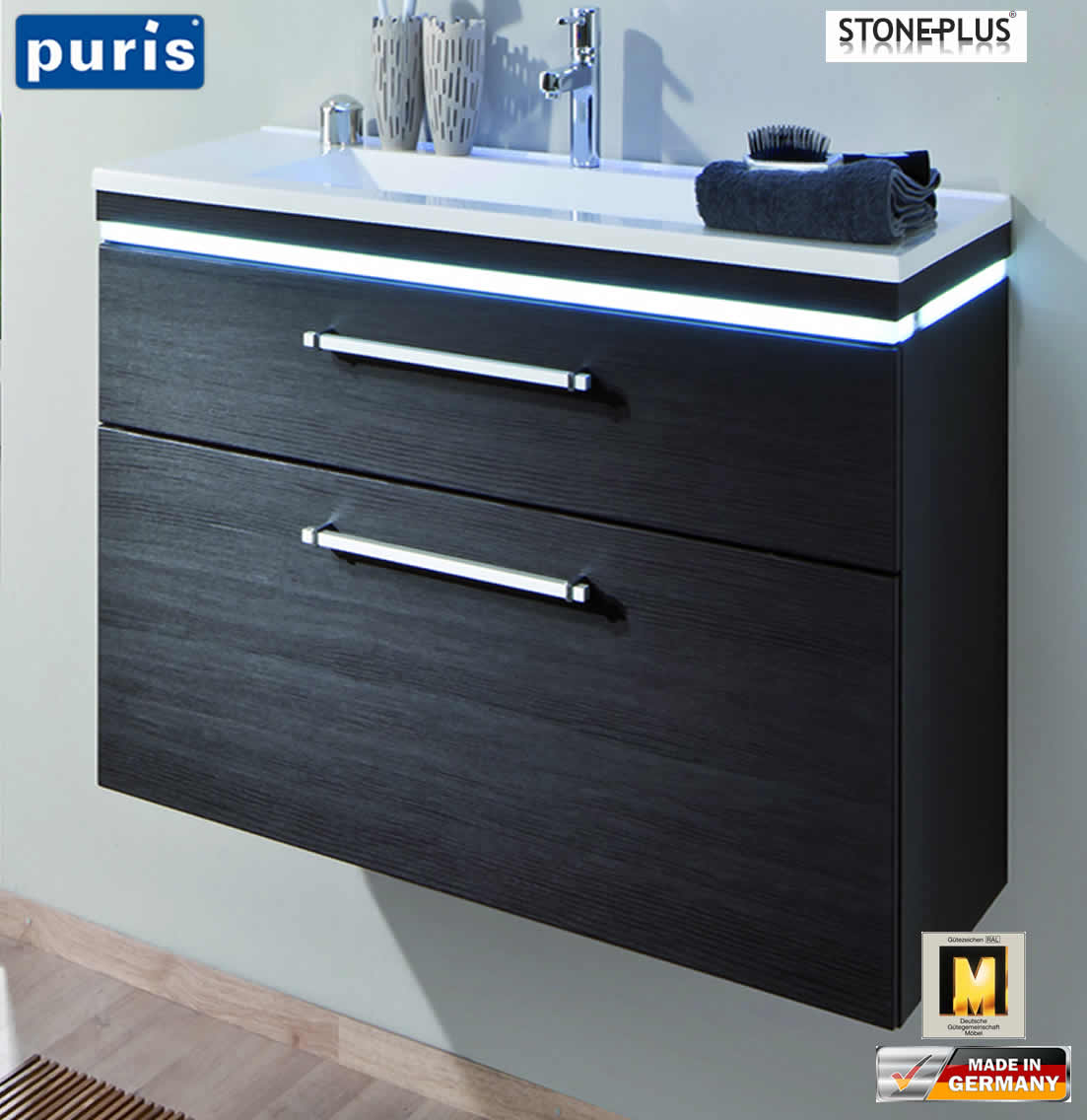 puris cool line waschtisch set 60 cm stoneplus led. Black Bedroom Furniture Sets. Home Design Ideas