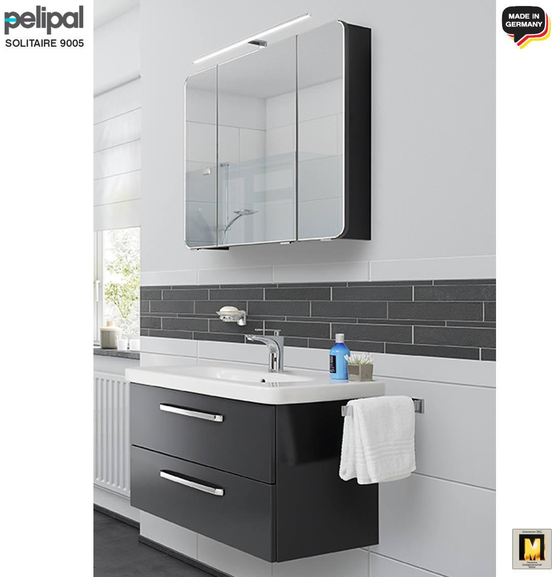 pelipal solitaire 9005 badm bel set 80 cm mit spiegelschrank inkl led aufsatzleuchte duravit. Black Bedroom Furniture Sets. Home Design Ideas